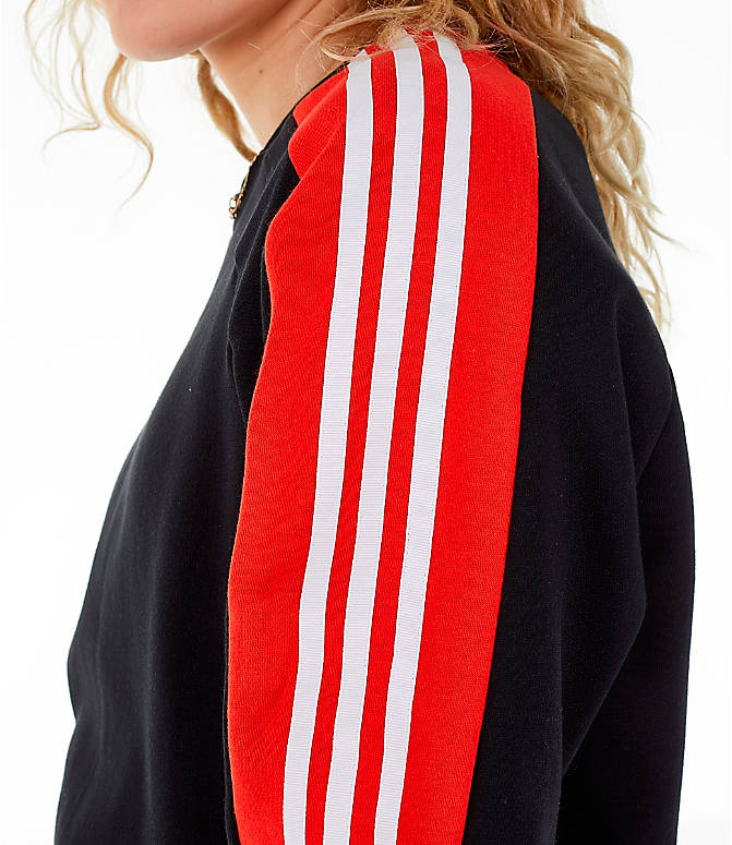Detail 2 view of Women's adidas Originals Panel Crew Sweatshirt in Black/Red