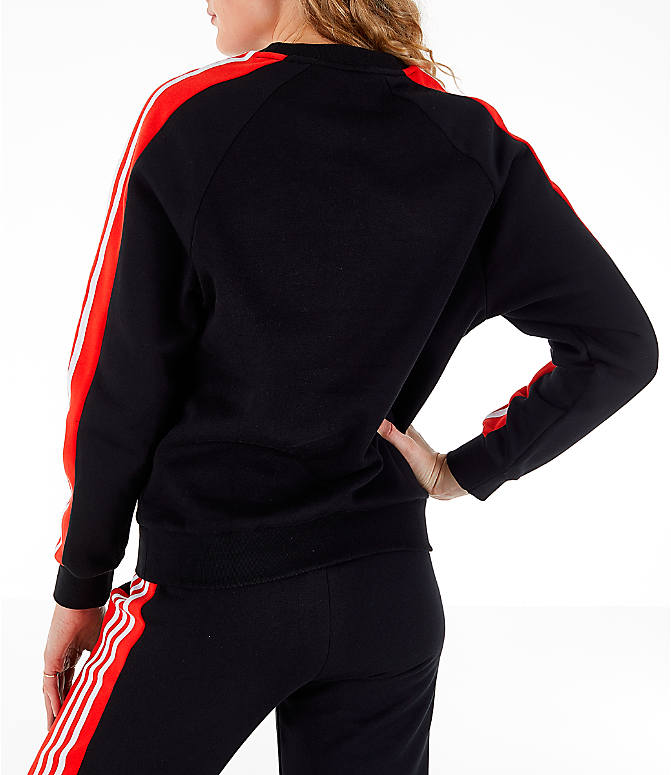 Back Left view of Women's adidas Originals Panel Crew Sweatshirt in Black/Red