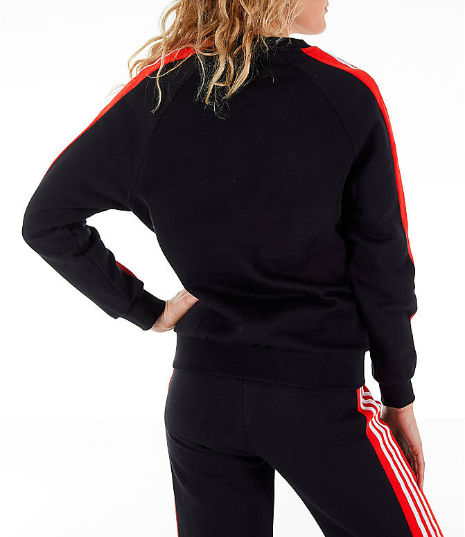 Back Right view of Women's adidas Originals Panel Crew Sweatshirt in Black/Red