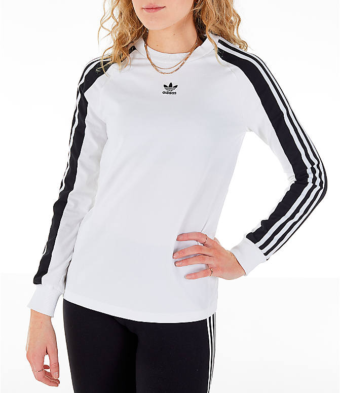Front view of Women's adidas Originals Panel Long-Sleeve T-Shirt in White