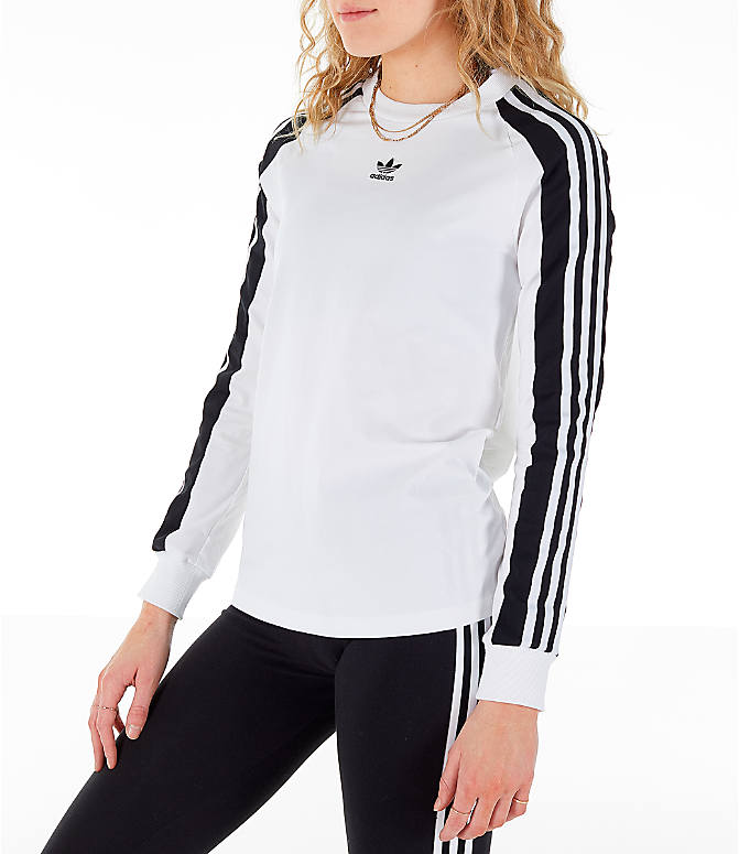 Front Three Quarter view of Women's adidas Originals Panel Long-Sleeve T-Shirt in White