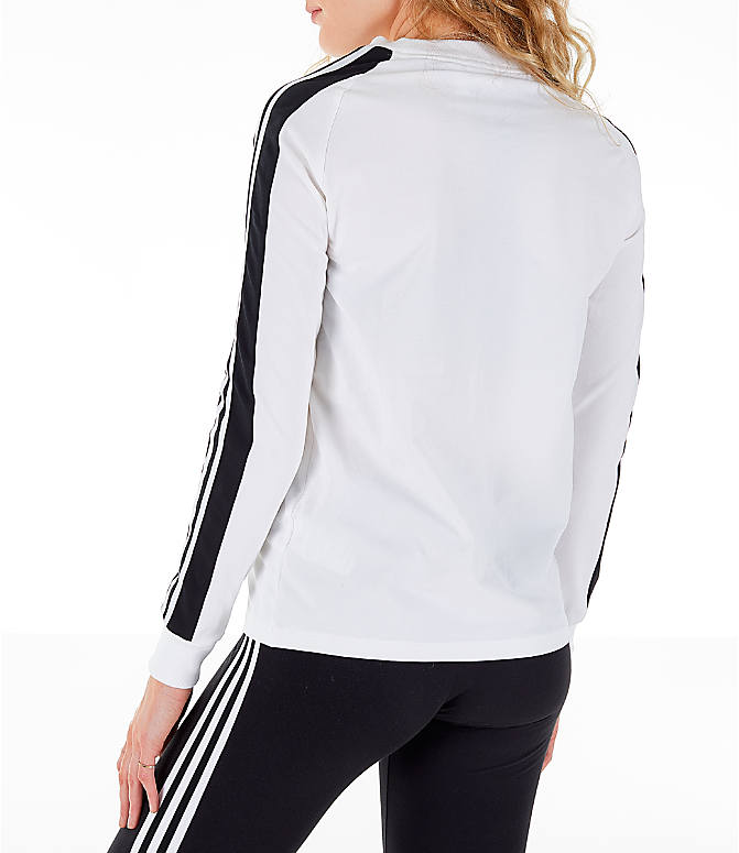 Back Left view of Women's adidas Originals Panel Long-Sleeve T-Shirt in White