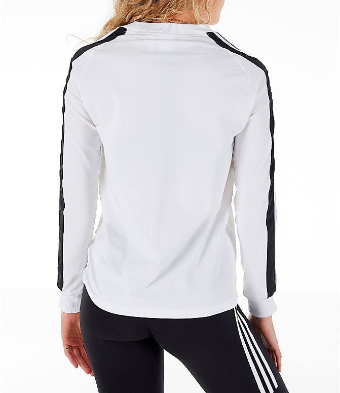 Back Right view of Women's adidas Originals Panel Long-Sleeve T-Shirt in White