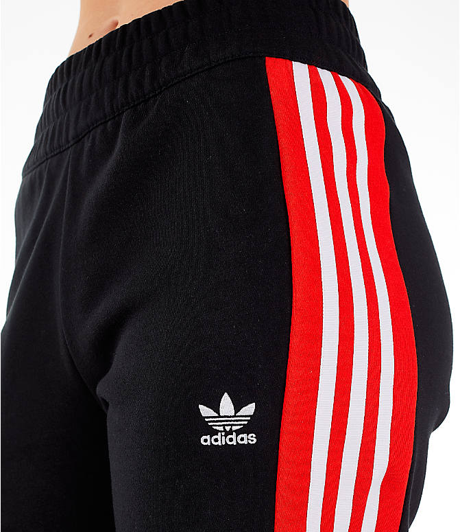 Detail 1 view of Women's adidas Originals Wide Leg Track Pants in Black/Red