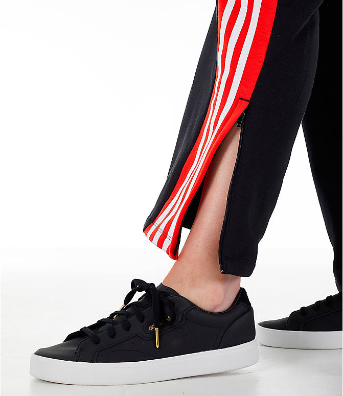 Detail 2 view of Women's adidas Originals Wide Leg Track Pants in Black/Red