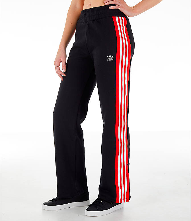 01949537a62e Front view of Women s adidas Originals Wide Leg Track Pants in Black Red