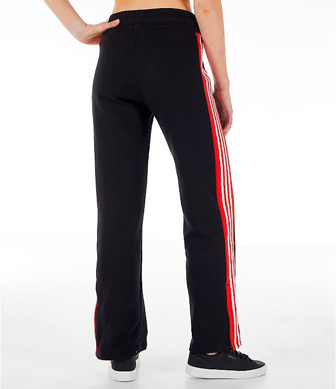 Back Right view of Women's adidas Originals Wide Leg Track Pants in Black/Red