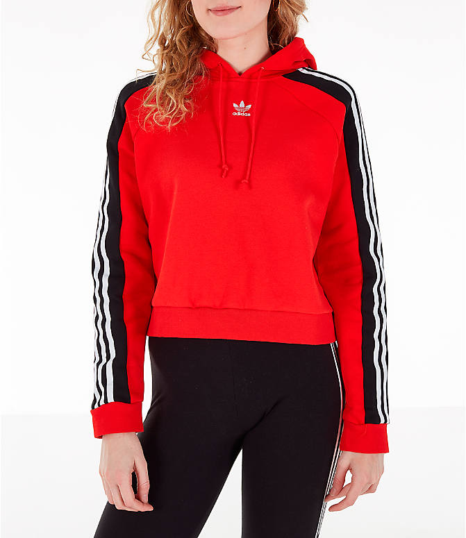 Front view of Women's adidas Originals Cropped Hoodie in Active Red