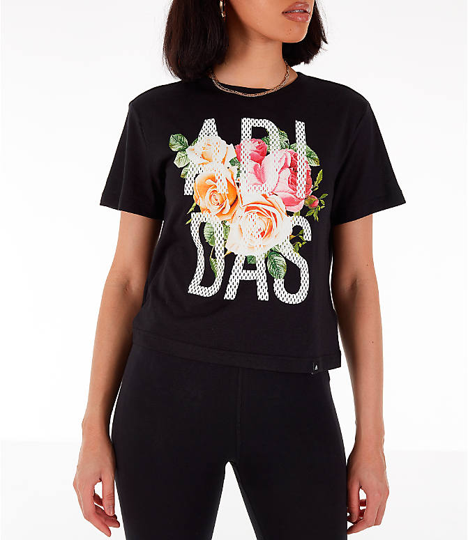 Front view of Women's adidas Floral Essential T-Shirt in Black/Floral