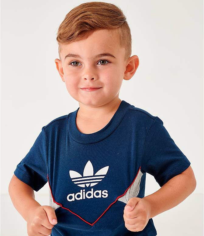 Back Right view of Infant and Toddler Kids' adidas Originals Colorado T-Shirt in Navy
