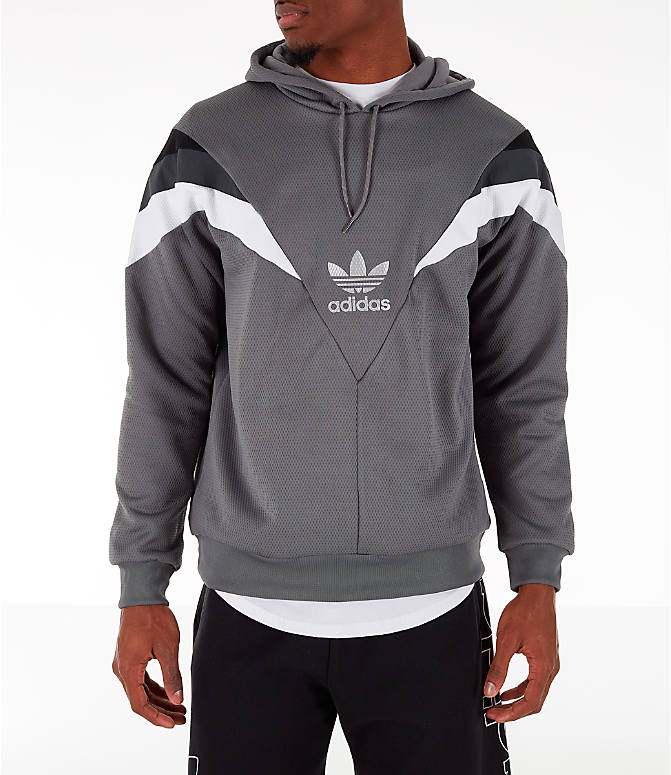Front view of Men's adidas Originals SR Hoodie in Grey Four