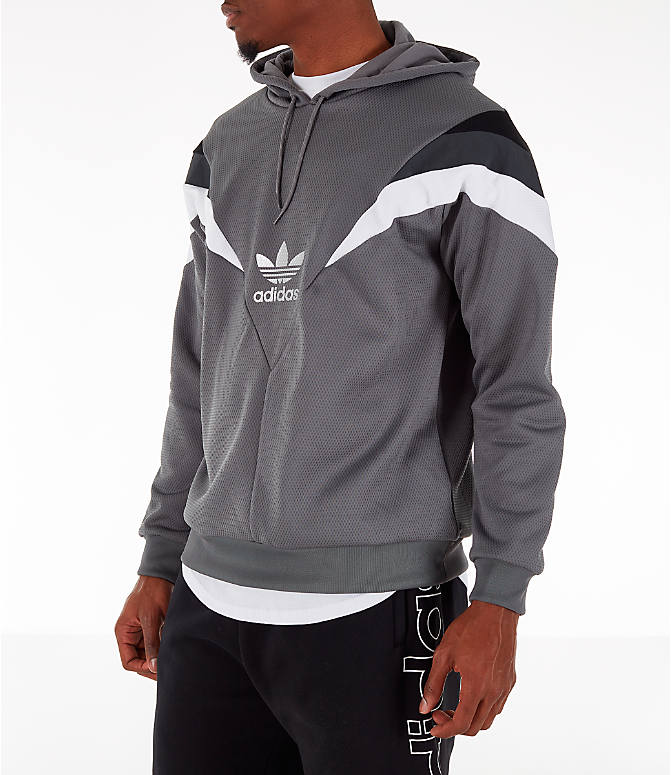 Front Three Quarter view of Men's adidas Originals SR Hoodie in Grey Four