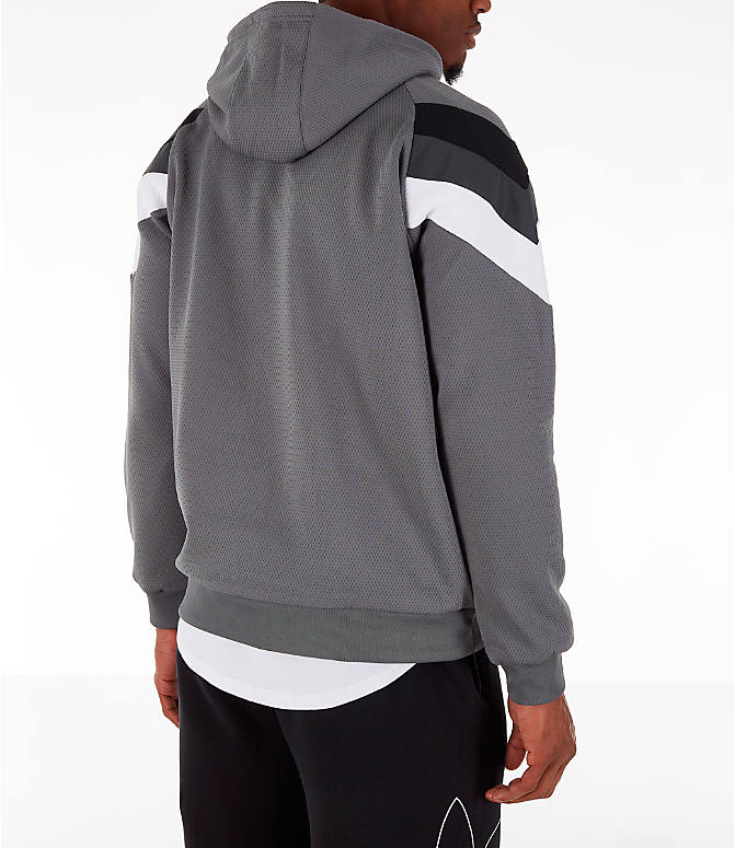 Back Right view of Men's adidas Originals SR Hoodie in Grey Four