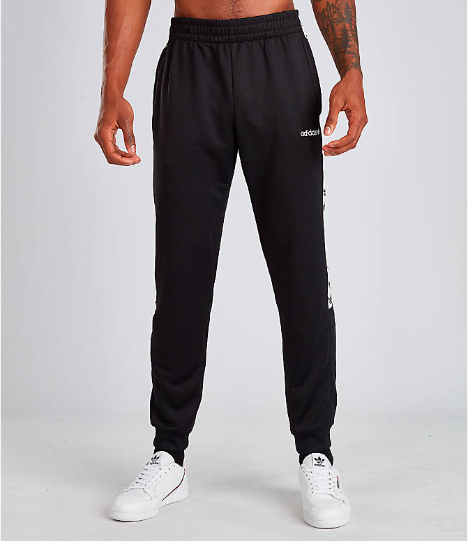 Front Three Quarter view of Men's adidas Tape Track Pants in Black/White