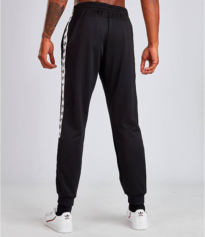 Back Left view of Men's adidas Tape Track Pants in Black/White