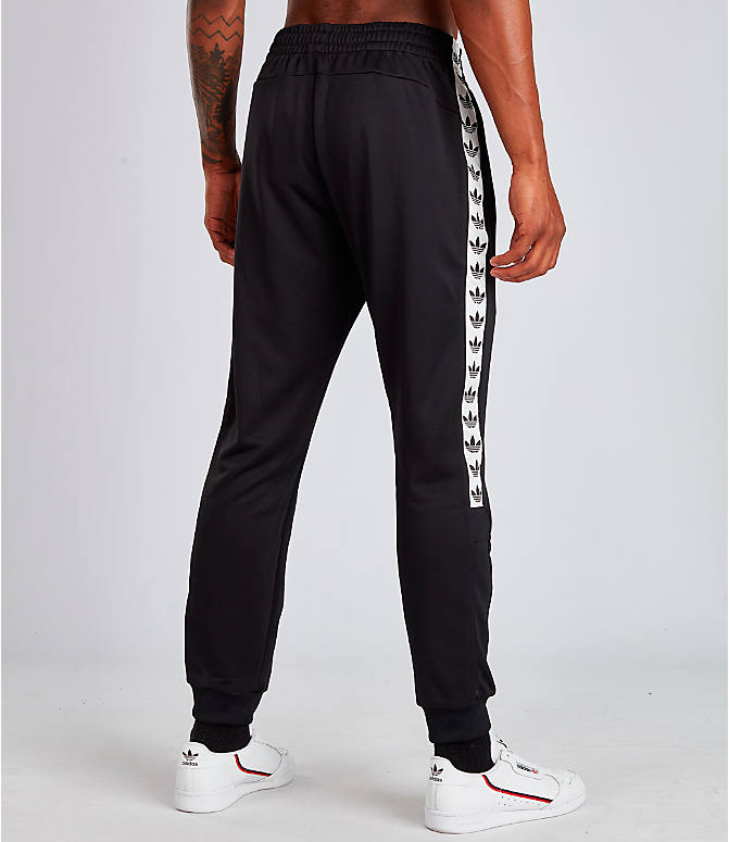 Back Right view of Men's adidas Tape Track Pants in Black/White