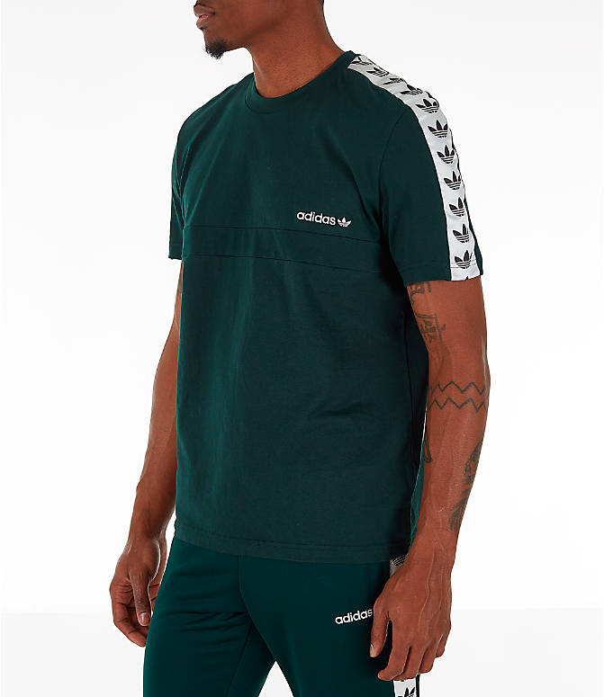 Front view of Men's adidas Originals Itasca Tape T-Shirt in Green Night