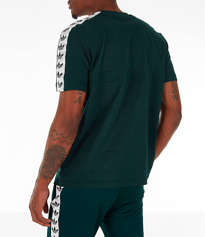 Back Left view of Men's adidas Originals Itasca Tape T-Shirt in Green Night
