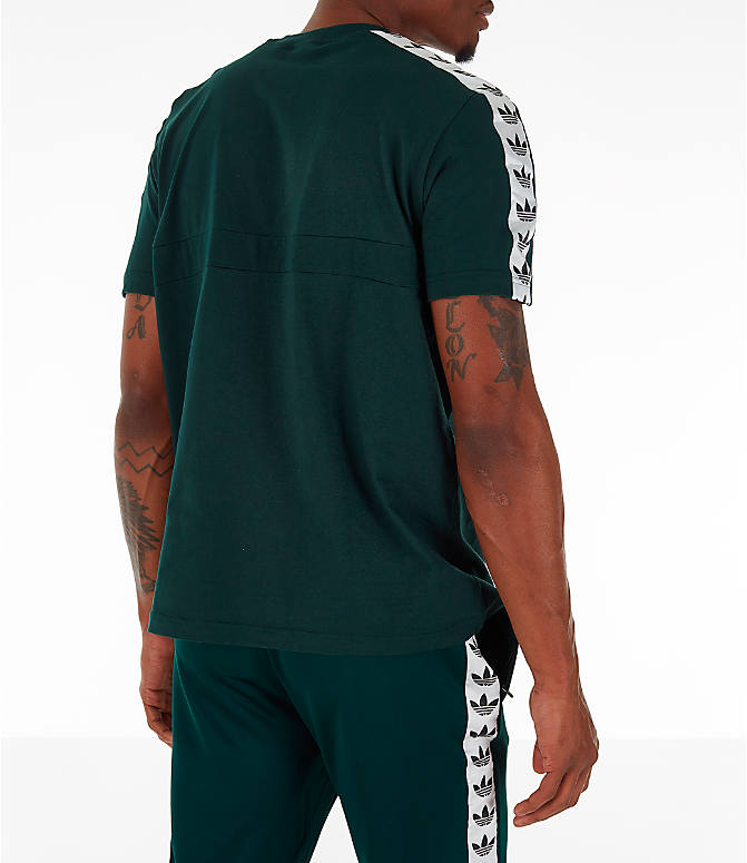 Back Right view of Men's adidas Originals Itasca Tape T-Shirt in Green Night