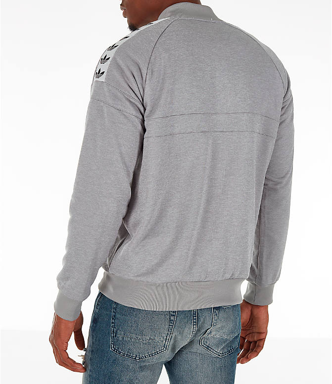 Back Left view of Men's adidas Originals Itasca Tape Track Jacket in Medium Grey