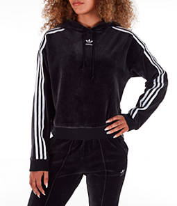 Women's adidas Originals 3-Stripes Cropped Velvet Hoodie