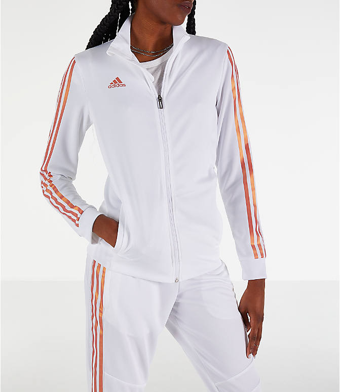 Front view of Women's adidas Originals Tiro Track Jacket in White/Gold