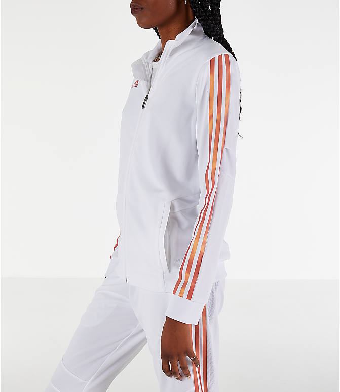 Front Three Quarter view of Women's adidas Originals Tiro Track Jacket in White/Gold