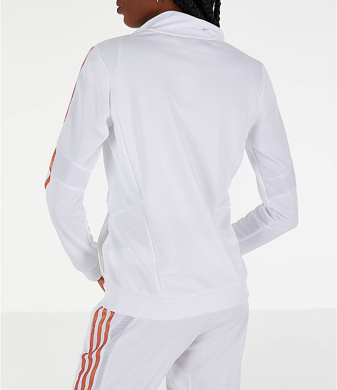 Back Left view of Women's adidas Originals Tiro Track Jacket in White/Gold
