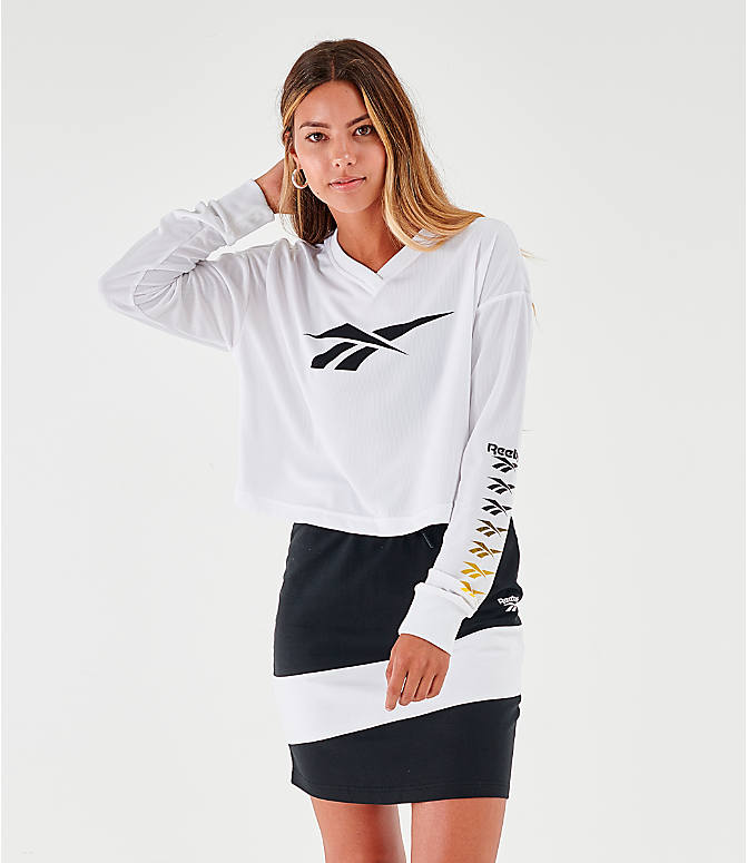 Front view of Women's Reebok Classic Vector Crop Long-Sleeve Top in White/Black