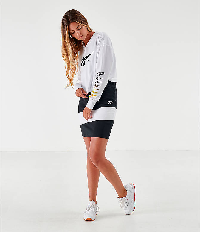 Front Three Quarter view of Women's Reebok Classic Vector Crop Long-Sleeve Top in White/Black