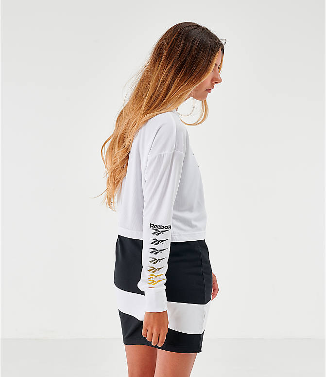 Back Left view of Women's Reebok Classic Vector Crop Long-Sleeve Top in White/Black
