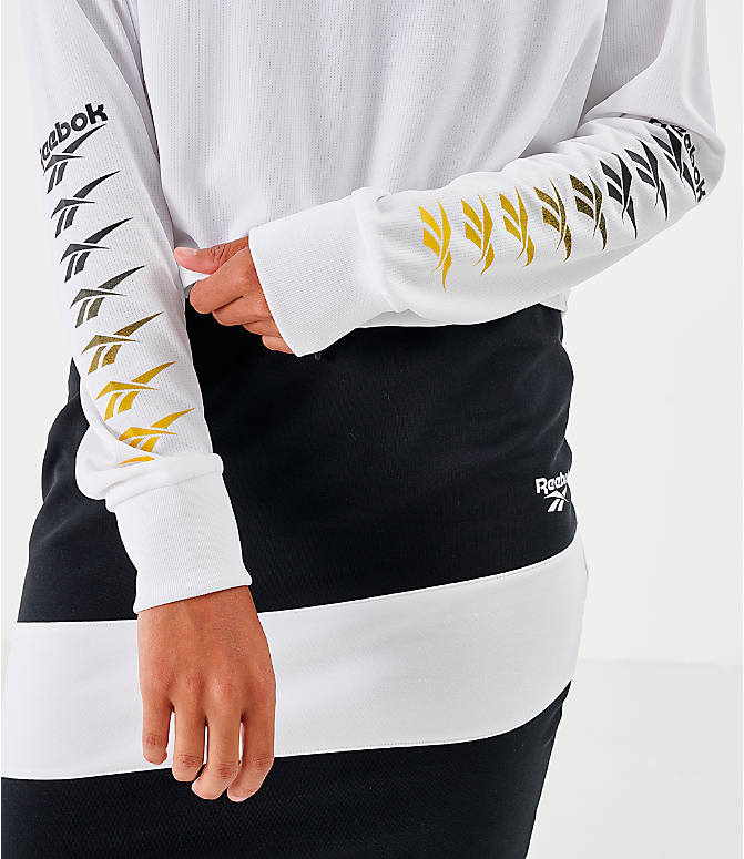Back Right view of Women's Reebok Classic Vector Crop Long-Sleeve Top in White/Black