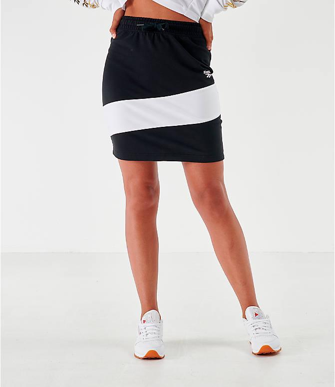 Front view of Women's Reebok Classics Vector Jersey Skirt in Black/White