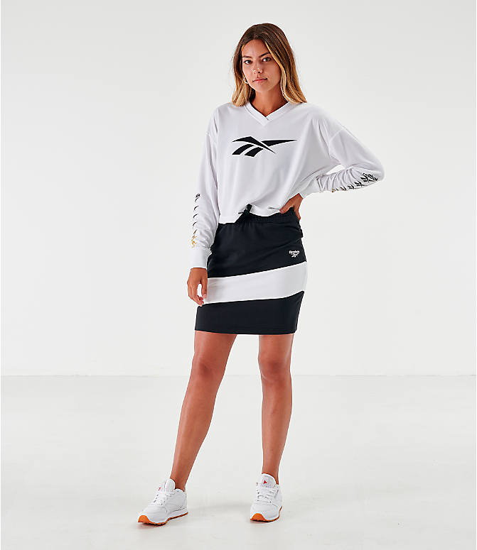 Front Three Quarter view of Women's Reebok Classics Vector Jersey Skirt in Black/White