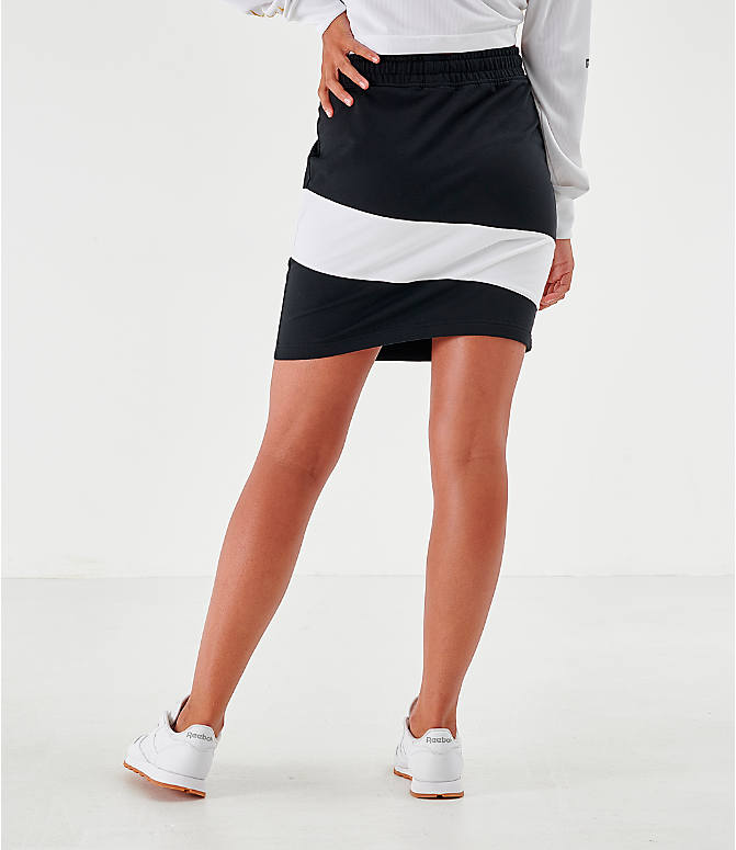 Back Right view of Women's Reebok Classics Vector Jersey Skirt in Black/White