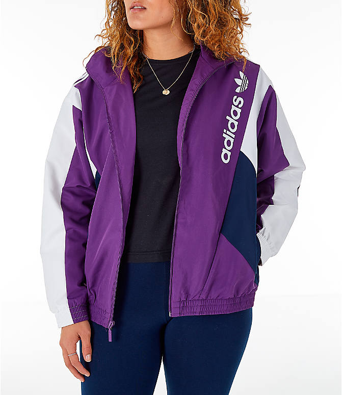 Front view of Women s adidas Originals 90 s Colorblock Track Jacket in  Purple Navy 2635e47bc8