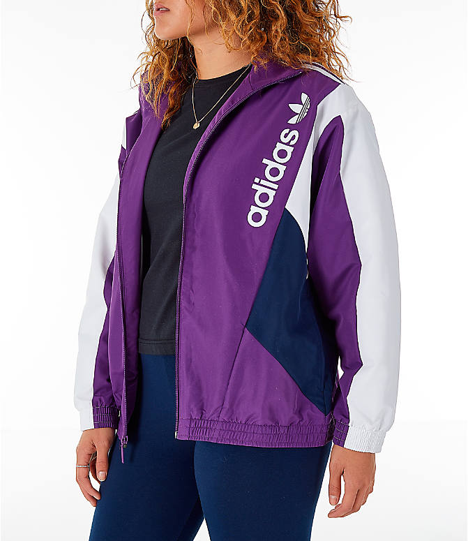 Front Three Quarter view of Women s adidas Originals 90 s Colorblock Track  Jacket in Purple Navy 0e2c119419