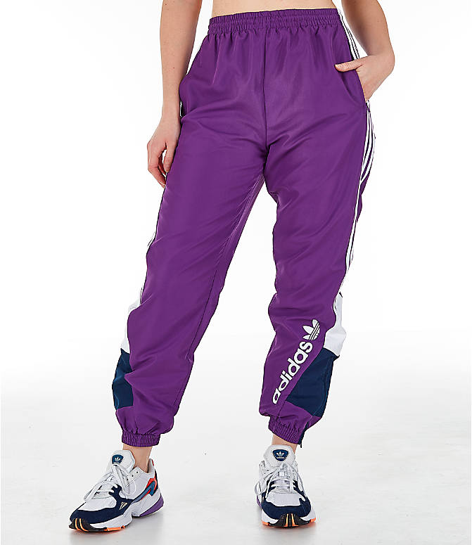 Front view of Women s adidas Originals 90 s Track Pants in Purple Navy ad07f450af