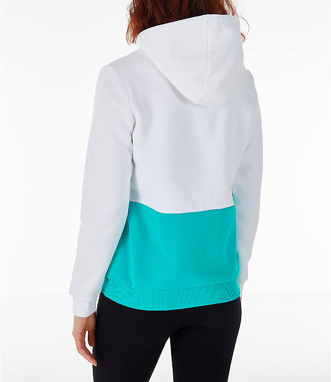 Back Left view of Women's Reebok Classics Hoodie in White/Teal