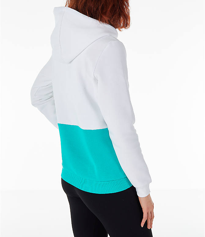 Back Right view of Women's Reebok Classics Hoodie in White/Teal