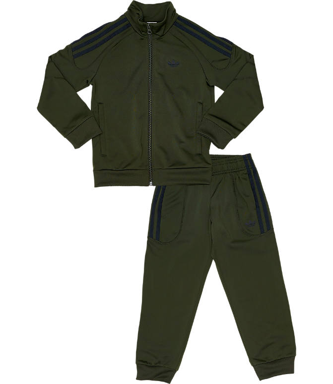 Front view of Toddler and Little Kids' adidas Originals Flamestrike Track Suit in Night Cargo