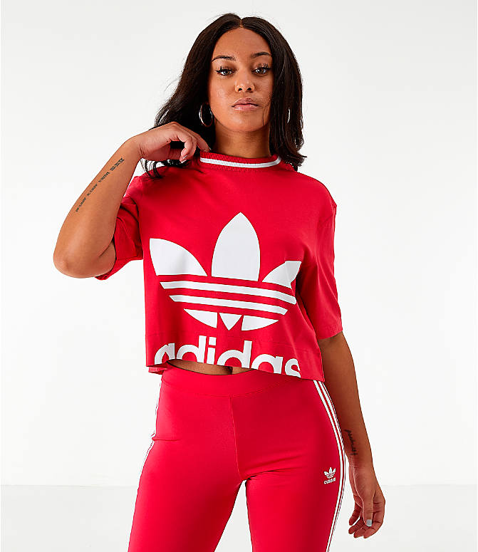 Front view of Women's adidas Originals Bellista Cropped T-Shirt in Energy Pink