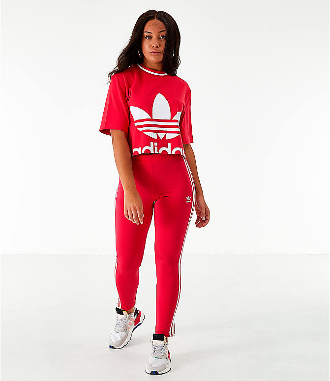 Front Three Quarter view of Women's adidas Originals Bellista Cropped T-Shirt in Energy Pink
