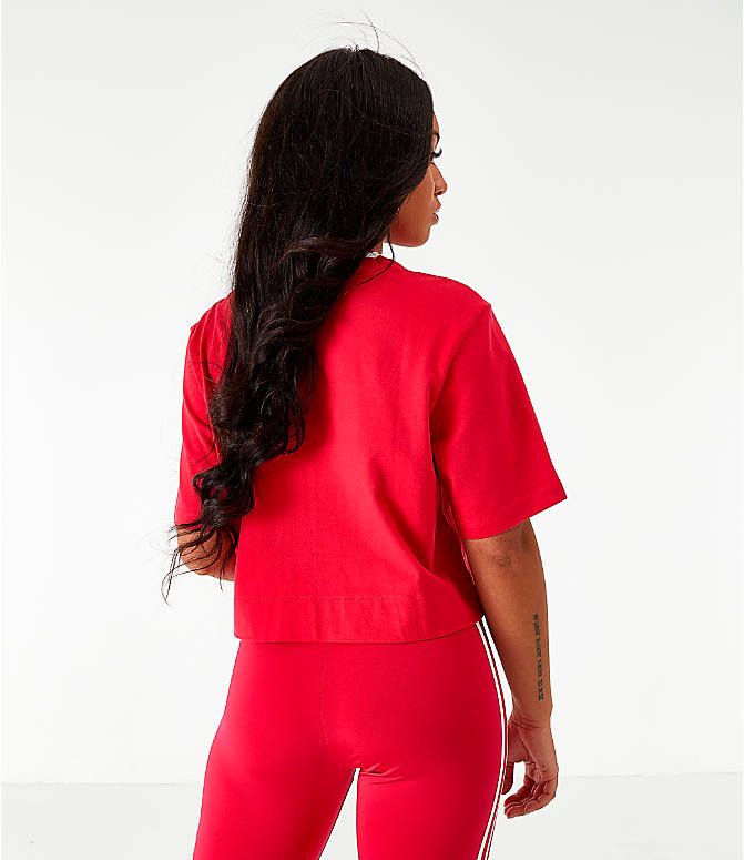 Back Left view of Women's adidas Originals Bellista Cropped T-Shirt in Energy Pink