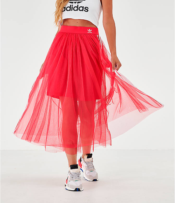Front view of Women's adidas Originals Layered Tulle Skirt in Energy Pink
