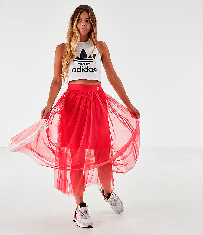 Front Three Quarter view of Women's adidas Originals Layered Tulle Skirt in Energy Pink