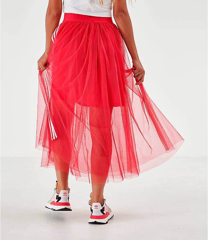 Back Left view of Women's adidas Originals Layered Tulle Skirt in Energy Pink