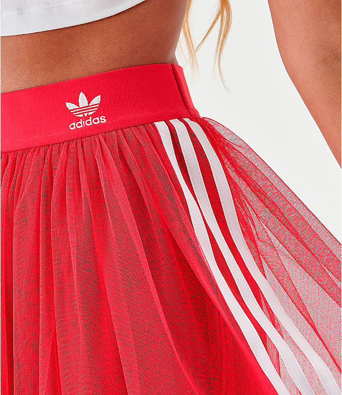 Back Right view of Women's adidas Originals Layered Tulle Skirt in Energy Pink