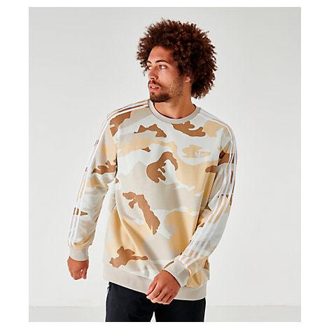 Adidas Men's Originals Camouflage Crewneck Sweatshirt In Brown