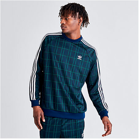 Adidas Originals T-shirts ADIDAS MEN'S ORIGINALS TARTAN CREWNECK SWEATSHIRT SIZE 2X-LARGE POLYESTER